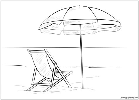 Kleurplaat Parasol by Chair And Umbrella Coloring Page Free Coloring