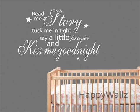 sticker phrase chambre me goodnight quote wall sticker baby nursery me