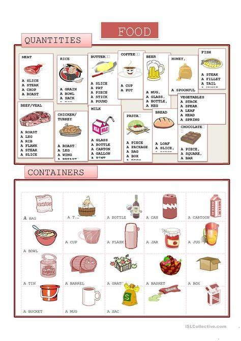 food quantity  containers worksheet  esl