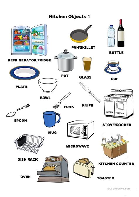 kitchen objects  worksheet  esl printable