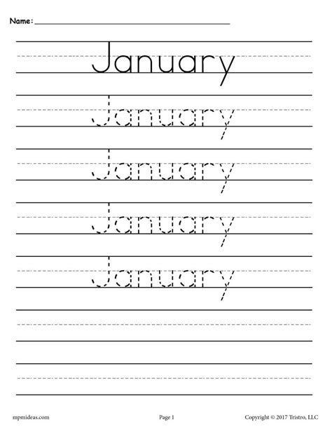 12 free handwriting worksheets months of the year supplyme