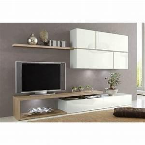 composition murale tv design sword blanche et chene sonoma With meuble tv composition murale