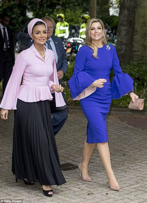 qatars sheikha mozah  dutch queen maxima   hague