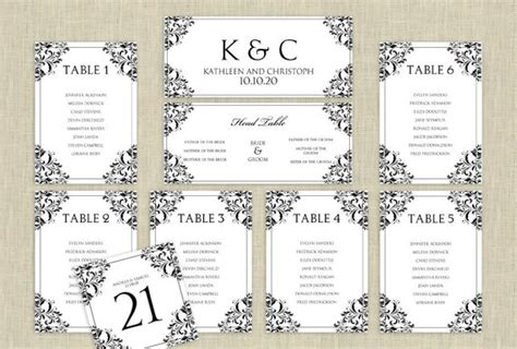 seating chart template word wedding seating chart template by karmakweddings on etsy