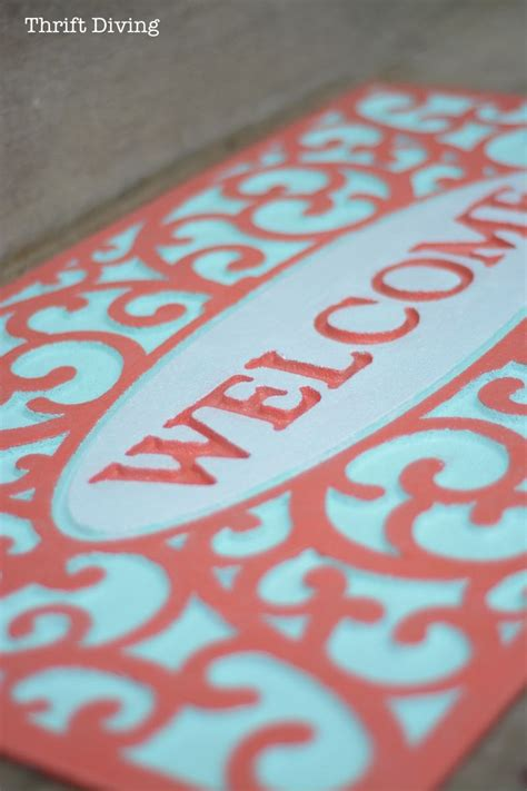 My Pretty Custom Welcome Mat Makeover With Spray Paint ...