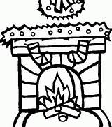 Fireplace Colouring Coloring Pages Christmas Printable Kidscolouring Stocking sketch template