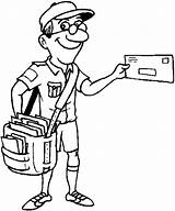Coloring Postman Pages sketch template