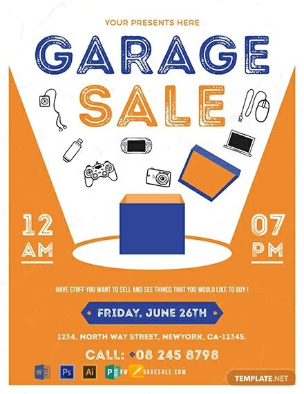 garage sale flyer template word psd apple pages