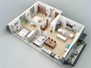 plan maison 3d d39appartement 2 pieces en 60 exemples With charming conception de maison 3d 2 architecture dinterieur decoration et amenagement de l