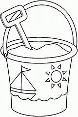 Bucket Coloring Shovel Colouring Clipart Spade Pail Sailship Decorated Template Drawing Templates Popular Utilising Button Coloringhome sketch template