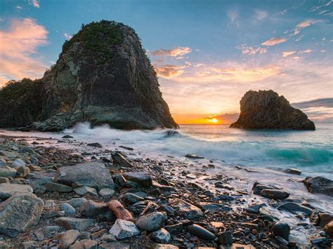 senganmon beach japan sunset ocean coast volcanic rock