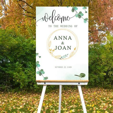 Digital File Green Fresh Style Wedding welcome sign