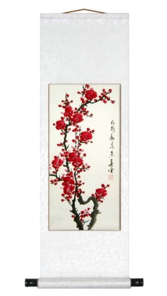 chinese red plum blossoms art scroll