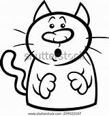 Cat Cartoon Surprised Coloring Clip Clipart Funny Illustration Symbol Rockhound Startled Vector Drawing Template sketch template