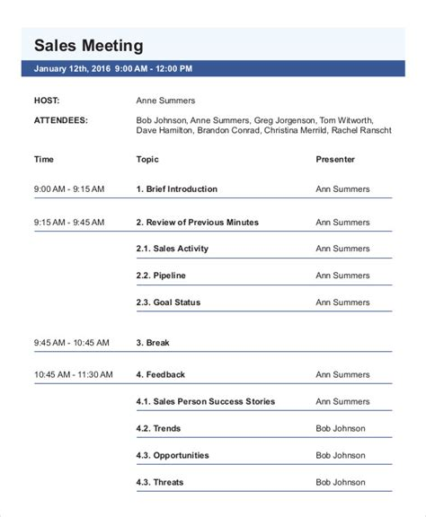 meeting agenda examples samples