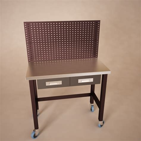 pegboard table 3d 3ds workbench table pegboard
