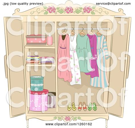 not shabby design studio clipart of a shabby chic armoire with ladies clothing royalty free vector illustration by bnp