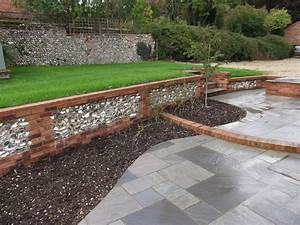 The walls retain the ground to provide a large flat lawn ...