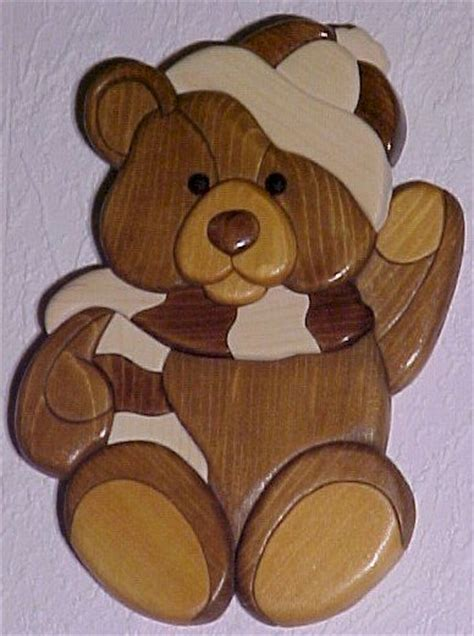 wooden teddy bear intarsia