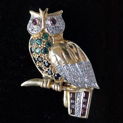 18k Uil Broche Gouden Owl Brooch Emerald