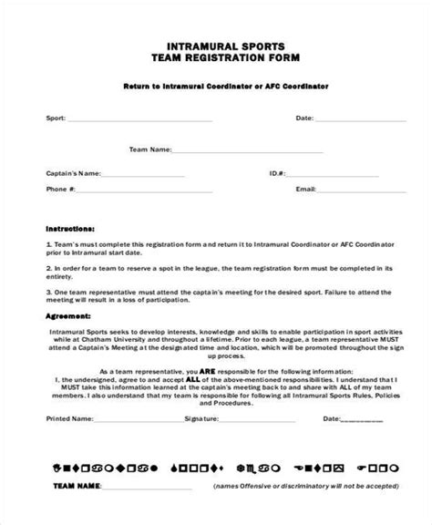 registration form templates   ms word excel