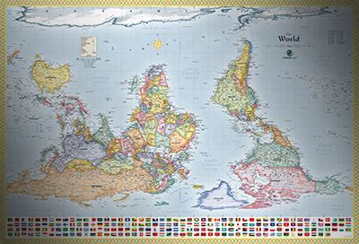 world upside  map  flags south  map
