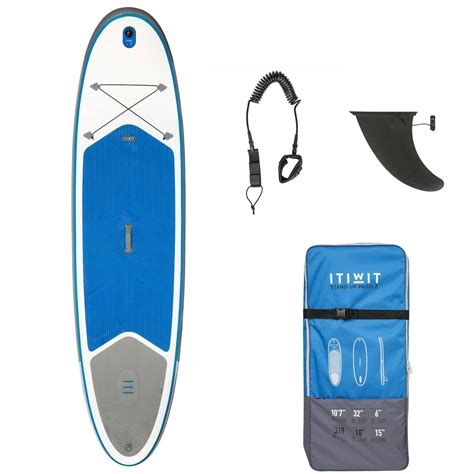 stand up paddle gonflable randonnee 100 10 7 bleu itiwit