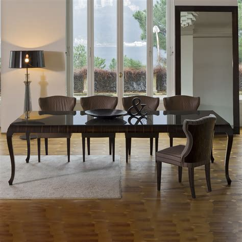 High End Ebony Veneer Glass Topped Dining Table