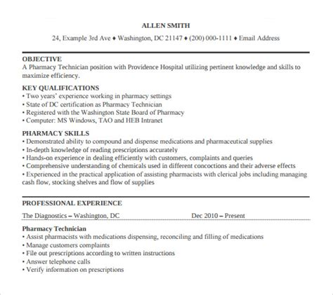 Pharmacist Resume Pdf by Sle Pharmacy Technician Resume 8 Free Documents In