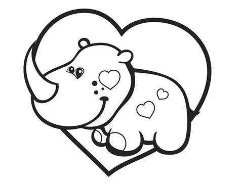valentines rhino  printable coloring pages