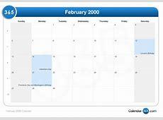 February 2000 Calendar