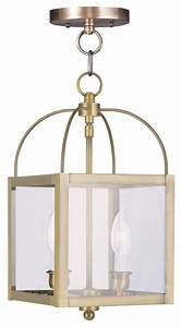 Antique brass foyer hall semi flush mount transitional