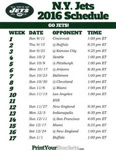 2016 New York Jets Printable Schedule
