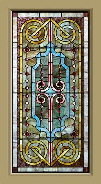 antique american opalescent stained glass window