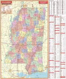 Mississippi Counties Map with Cities