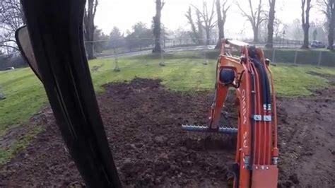 kubota   mini digger excavator   rake attachment youtube