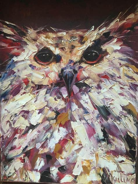 Owl original Impasto oil painting Abstract bird Owl oil ...