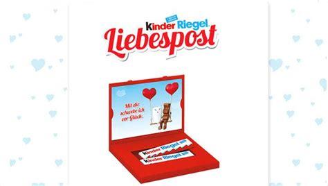kinder riegel valentinstag liebespost mit kinder riegel kostenlos verschicken leben24