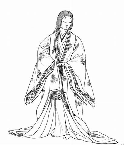 Kimono Coloring Japan Japanese Pages Colouring Sketch
