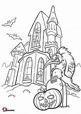 Coloring Pages Haunted Pumpkin Halloween Scary Bubakids sketch template
