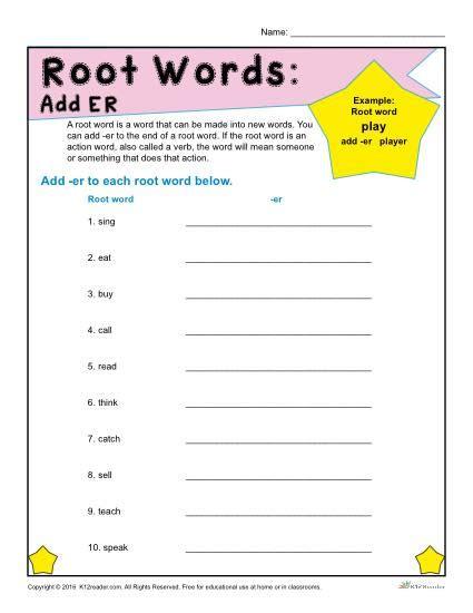 root words worksheets add er