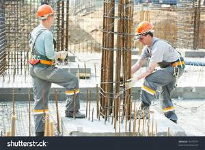 Builder Workers Knitting Metal Rods Bars Stock Photo ...
