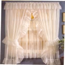 sheer priscilla curtains sheer priscilla pair with tie backs ruffle valance