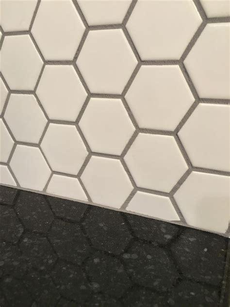 honeycomb porcelain tile matte white  delorean grey