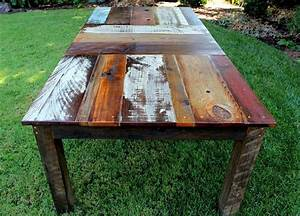 Reclaimed wood dining table design with an edge for Barnwood outdoor table