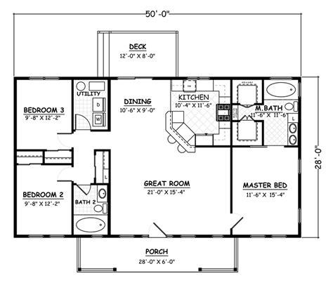 open concept bedroom rectangular house plans
