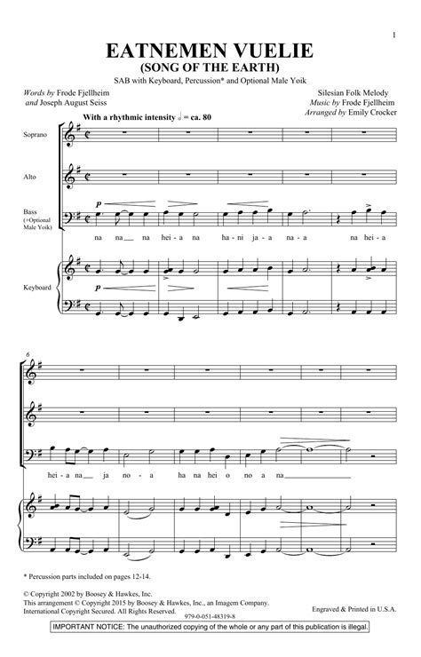 eatnemen vuelie song of the earth sheet music direct
