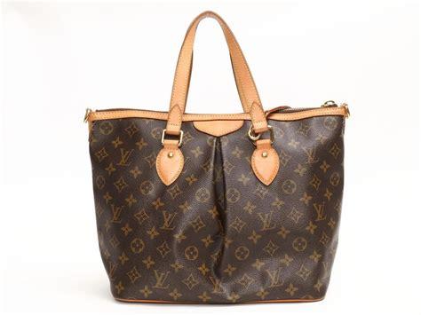 lyst louis vuitton palermo pm handbag shoulder bag monogram canvas   brown