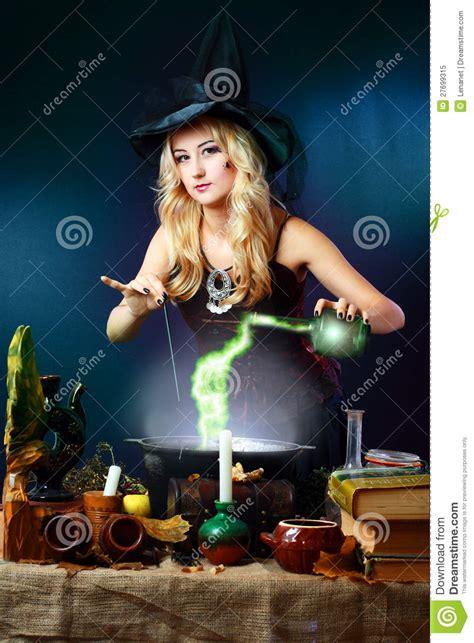 witch making potion stock image image  cauldron cute