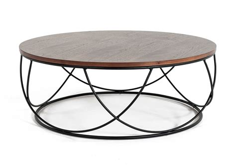 Pair of contemporary round coffeetables with aged oak top for sale, source: Modrest Strang Modern Walnut & Black Round Coffee Table